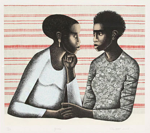 Elizabeth Catlett   Gossip , 2005 lithography Courtesy of Brodsky Center for Innovative Editions