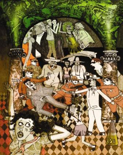 Warrington Colescott  American, born 1921, Oakland, California (lives in Hollandale, Wisconsin)  The Hit on Huey , 2005 color etching Courtesy of the ASU Permanent Collection of Art