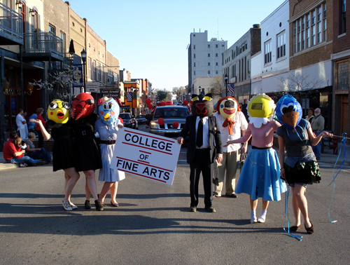 2009 - ASU Centennial parade held in downtown Jonesboro. Students in foreground are Amanda Willett, Shannon Smithee, Savannah Traylow, Dew Posey, Bryan Hale, Jenny Ball, Kelly Little.  Courtesy of Les Christensen