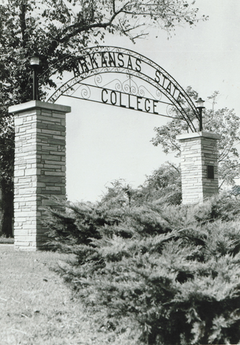 1950 - A new arch for Arkansas State College. Courtesy of ASU Public Relations