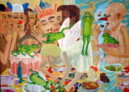 Robert Warrens   The Banquet of Celebrating the Descent of the Angel Rescuing the Frogs , 1997 oil on canvas