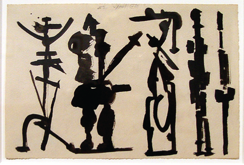 David Smith   Untitled , 1954 egg and black ink on paper Courtesy of the Arkansas Arts Center Foundation Collection