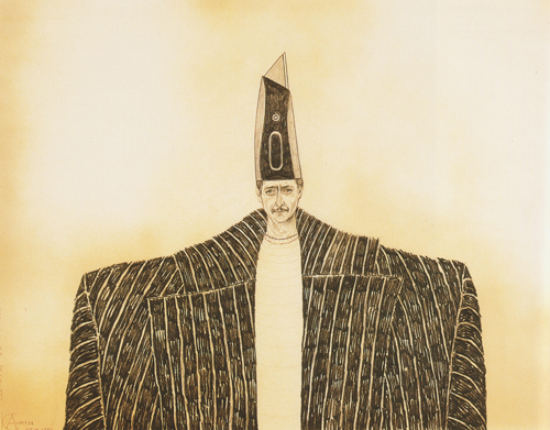 Luis Cruz Azaceta   Kind for a Day #6 , 1980 ink, black chalk on paper 18.75 x 23.75 inches Courtesy of the Arkansas Arts Center Foundation Collection