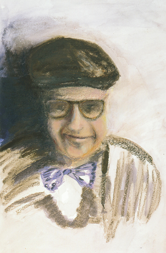 Thom Hall   Curtis in Paris , 2001 watercolor crayon on paper 22.5 x 15 inches Courtesy of the Arkansas Arts Center Foundation Collection