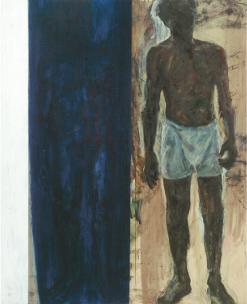 Charles Campbell   Double Self , 1997 mixed media on paper on canvas 66 x 54.25 x 1.75 inches Courtesy of Grosvenor Galleries