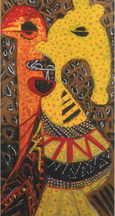 Kofi Kayiga   Twin Powers , 1992 acrylic on paper 36 x 70.5 inches Courtesy of Kingdom Fine Arts
