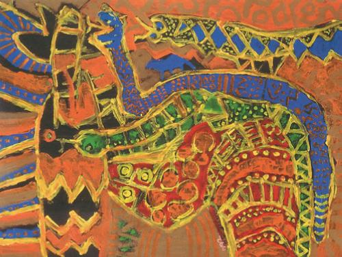 Kofi Kayiga   Golden Serpent , 1992 acrylic on paper 36 x 48 inches Courtesy of Kingdom Fine Arts