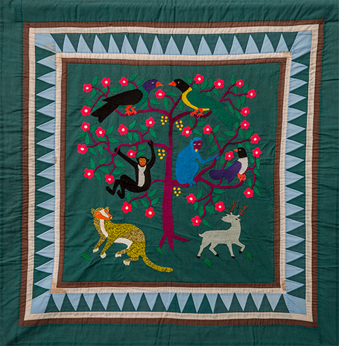 Artist Unkown   Story Piece (Birds, Monkeys, Mongoose, and Deer)  ca. 1990 cotton 35 x 36 inches private collection ©Sae Her. Photo: E.G. Schempf