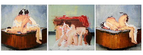 John Funderburg   Three Bodhisattvas  oil on panel 30 x 30 inches