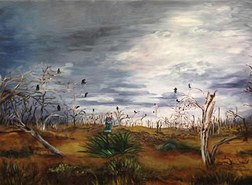 Deborah Schmidt   Ravens  oil on canvas 48 x 48 inches