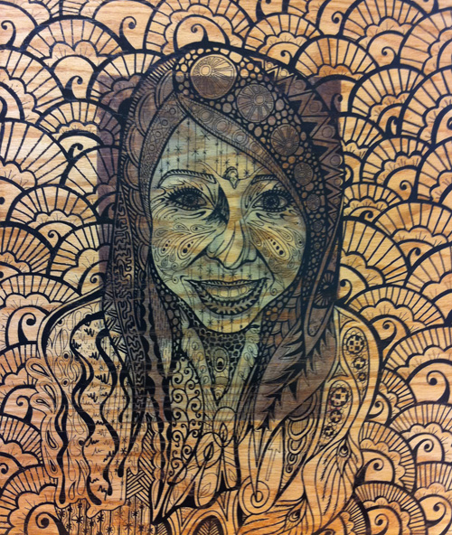 Erica Naeger Castilaw   Sam , 2011 transfer, silk screen, varnish, polyurethane on wood  The work on display has evolved from a series of charcoal portraits I drew of friends and family. Each portrait gives a glimpse of the model's character to the viewer. This is the most intimate and personal layer of the pieces. I made a copy of the drawings and transferred them onto wood panels. From these portraits, I created beautiful abstractions that are screen printed over the transfer. These abstract outer layers are symbolic of a viewer's first impression, whether accurate or not, of that individual. The pieces are a representation of first impressions, beauty, and the actual person on the inside of it all. -Erica Naeger Castilaw