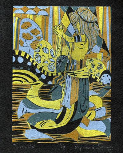 Stephanie Sweeney   Threads , 2007 reduction linocut