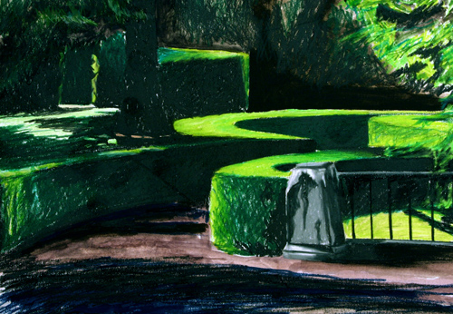 Nicholas Bussell   Boboli Gardens , 2004 Prismacolor and watercolor on paper