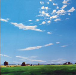 Roger Carlisle   Big Sky , 1985 oil on canvas 20 x 20 inches Courtesy of the artist