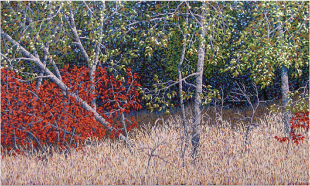 Roger Carlisle   Trees and Sumac , 1984 acrylic on canvas 72 x 120 inches ASU Permanent Collection of Art