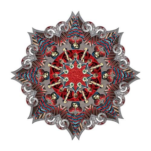Nikki Arnell   Mandala Dark , 2014 ink on paper 42 x 42 inches
