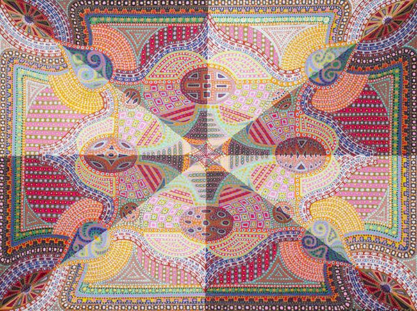 Liz Whitney Quisgard   Byzantine Series #3 , 1982 acrylic on canvas 36 x 48 inches
