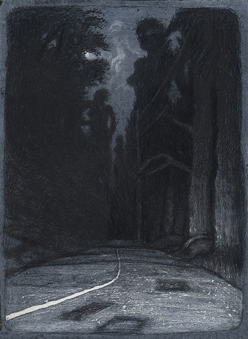 Kilby Raptopoulos Purchase Award. Permanent Collection, Arkansas State University. Underwritten by Claude M. Erwin, Jr., Dallas, Texas   Warren Criswell   Dark Road , 2015 linocut 10 x 7 inches