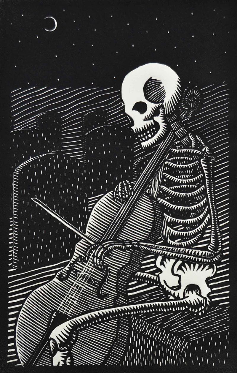 Robert Fischer   A Graveyard Crescendo , 2017 relief print 10 x 7 inches
