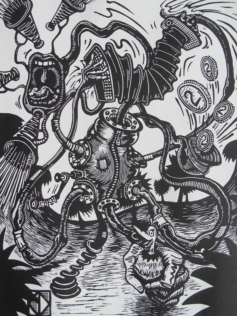 Les Christensen Purchase Award. Permanent Collection, Arkansas State University. Underwritten by Sharon & Evan Lindquist, Jonesboro   Keith Dull   Seussian Opinionator ,2017 relief print 12 x 9 inches