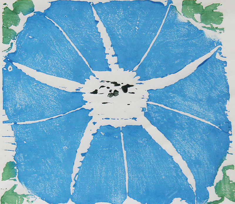 Su-Li Hung   Blue Morning Glory , 2017 woodcut 11 x 12 inches