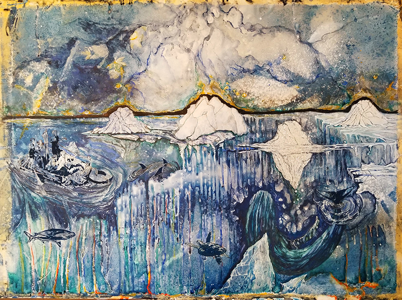 Don A. Tilton Purchase Award. Permanent Collection, Arkansas State University. Underwritten by Don A. Tilton, Little Rock.   Stephanie Kolpy   The Final Thaw , 2018 cyanotype, monotype, screenprint, diamond dust, watercolor and white gel pen 22 x 30 inches