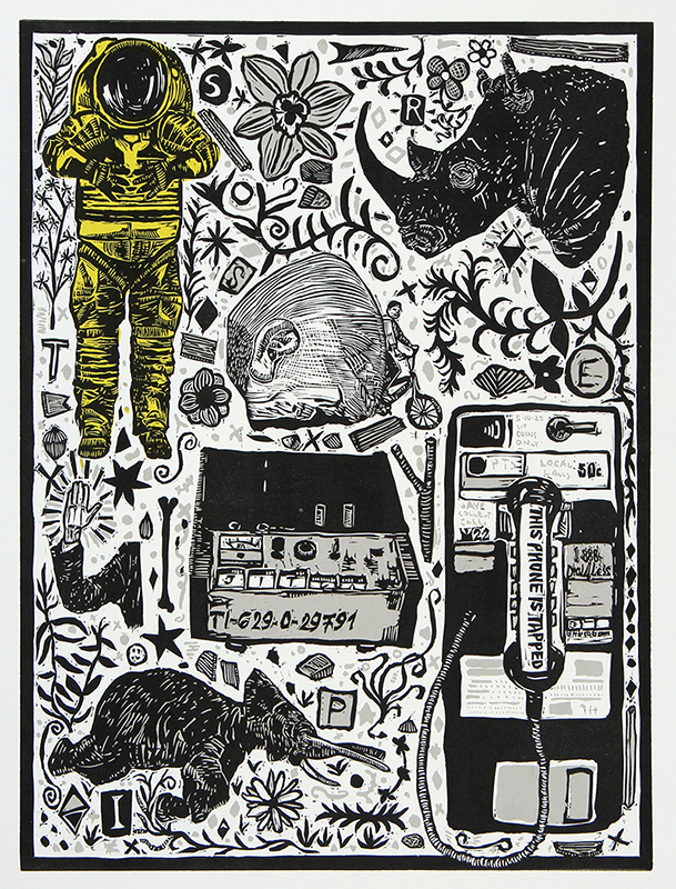 President's Purchase Award. Permanent Collection, Arkansas State University. Underwritten by Mandy & Dr. Charles Welch, Little Rock.   Andrew Kozlowski   Dark Days (March) , 2018 linocut and screenprint 19 x 15 inches
