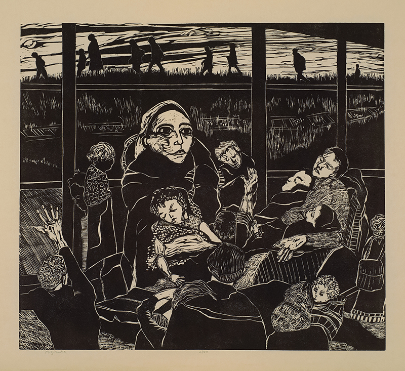 Lindquist Purchase Award. Permanent Collection, Arkansas State University. Underwritten by Chucki & Curt Bradbury, Jr., Little Rock.   Ellen Nathan Singer   Migrants , 2016 woodcut 18 x 20 inches