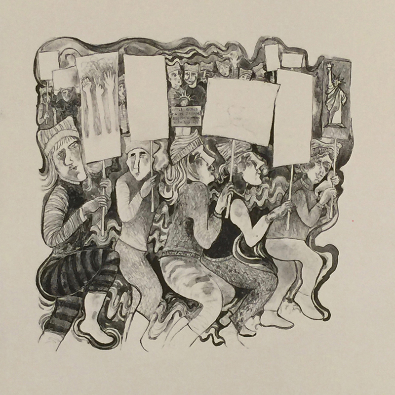 Les Christensen Purchase Award. Permanent Collection, Arkansas State University. Underwritten by Sharon & Evan Lindquist, Jonesboro.   Karen Brussat Butler   Women on the March , 2018 lithograph 15 x 15 inches