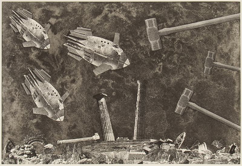 Justin Diggle   Ruinous Consequences , 2018 etching and photo etching 9.25 x 14 inches