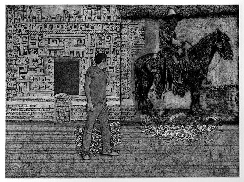 Marco Hernandez   El Demonio en el Pasado , 2017 etching 9 x 12 inches