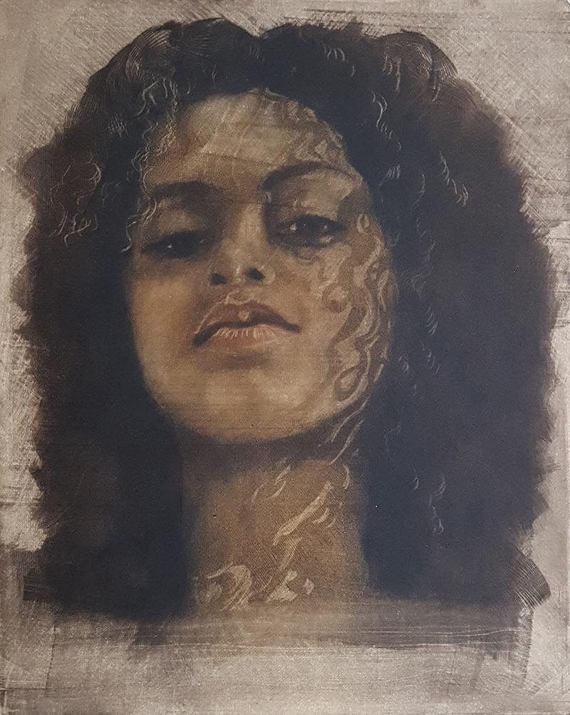 Janet Badger   Houston Rising , 2017 color mezzotint 9 x 7 inches