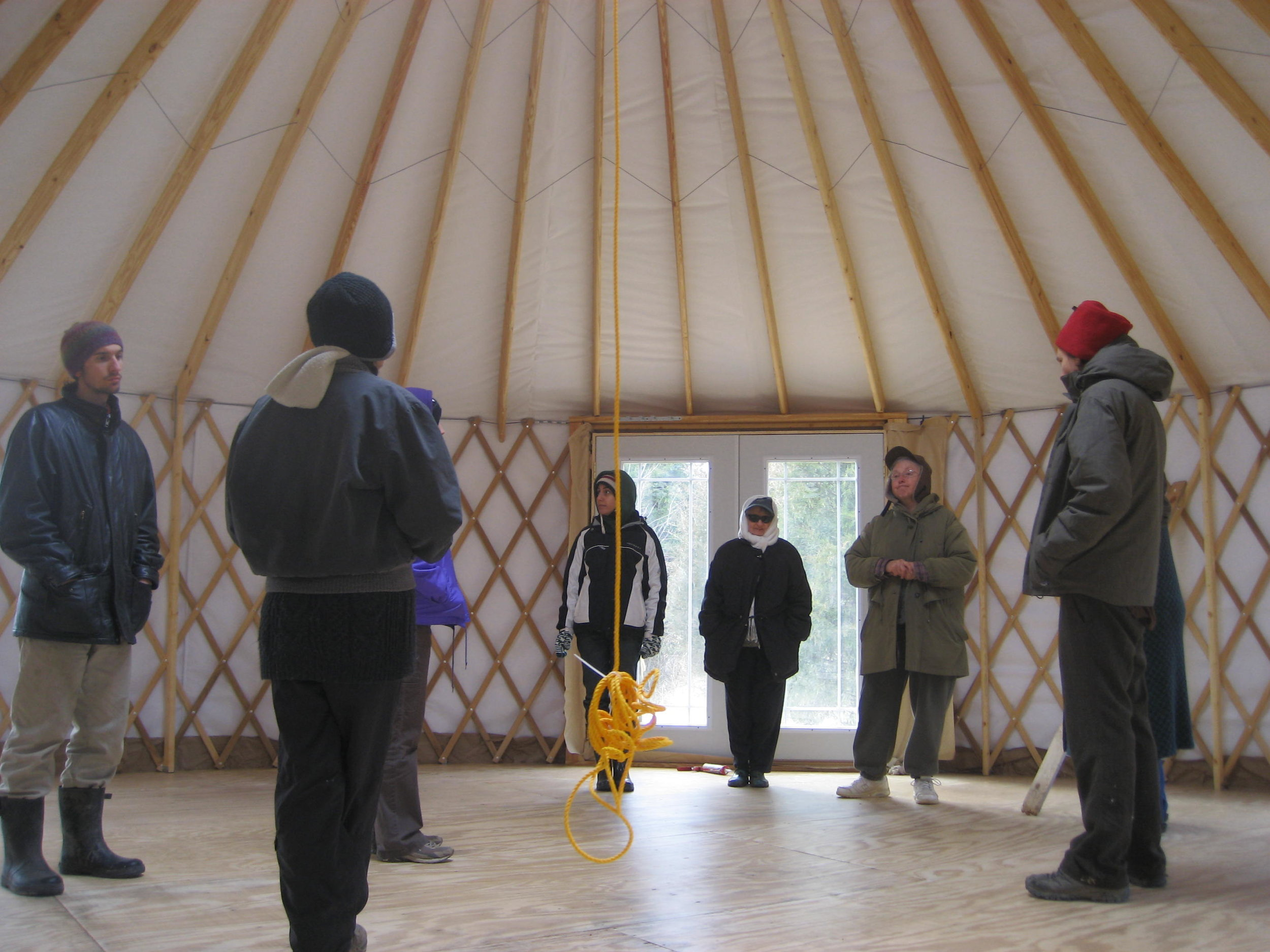 Students learning about Yurts at Greensleeves Farm
