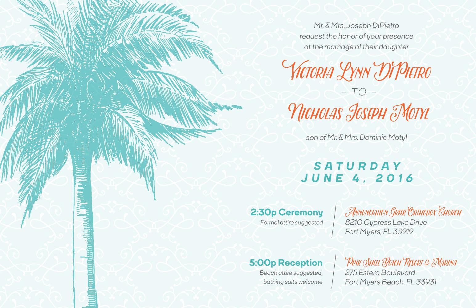 Victoria & Nicholas Motyl  Wedding invitation