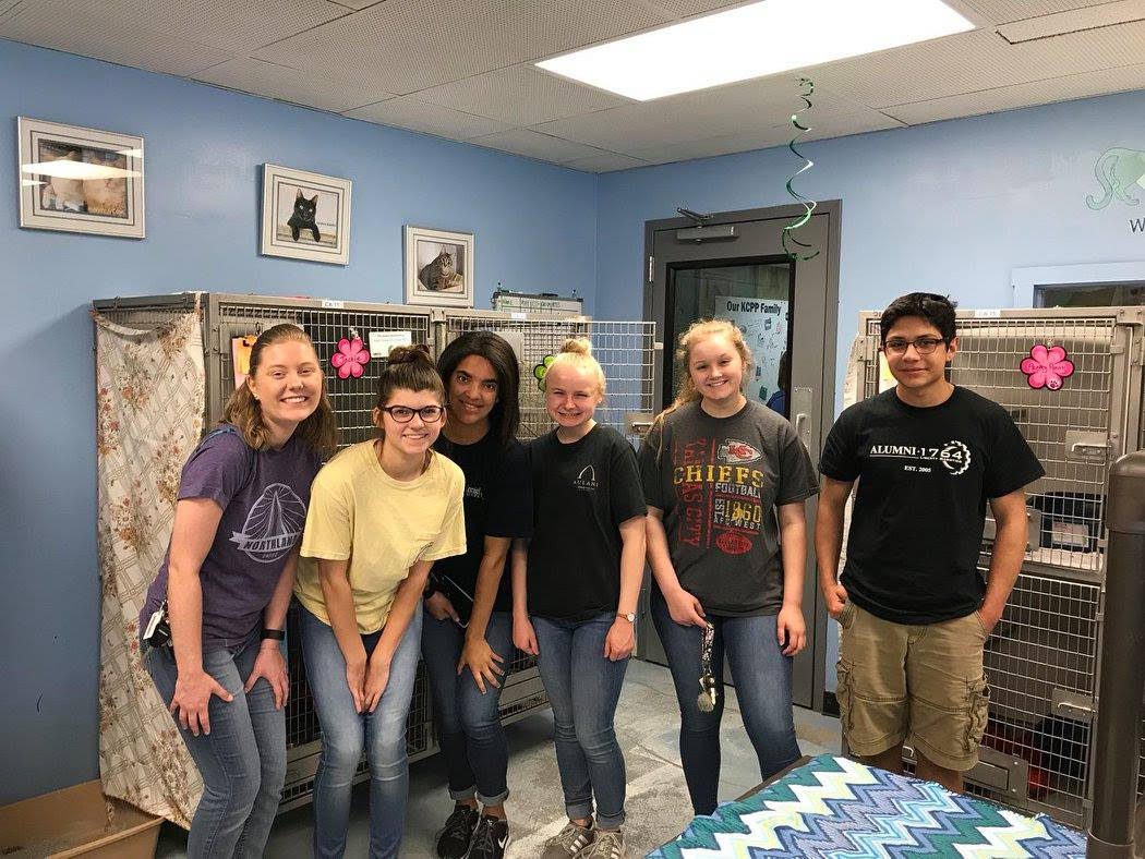 Northland CAPS students volunteer at KC Pet Project in May 2018.  submitted photo