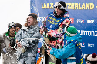 Kevin, center, and Shaun White, left, on the podium at the burton european open in 2008