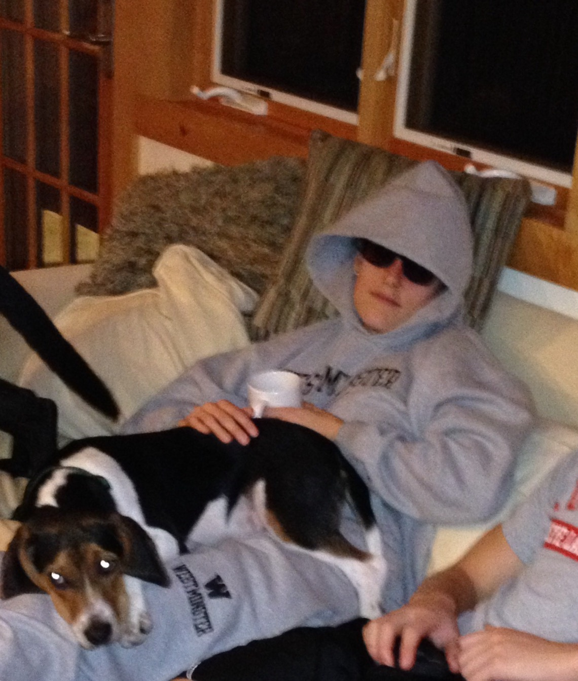 Me sporting a groutfit and shades with my dog, wilson, during the cognitive rest phase of my recovery.