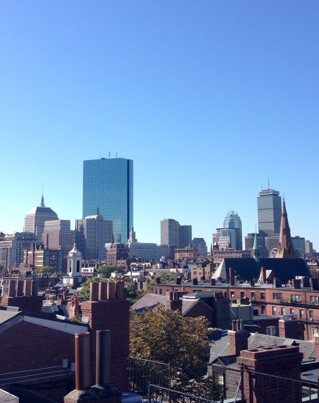 A view of boston from the rooftop of my beacon hill apartment.
