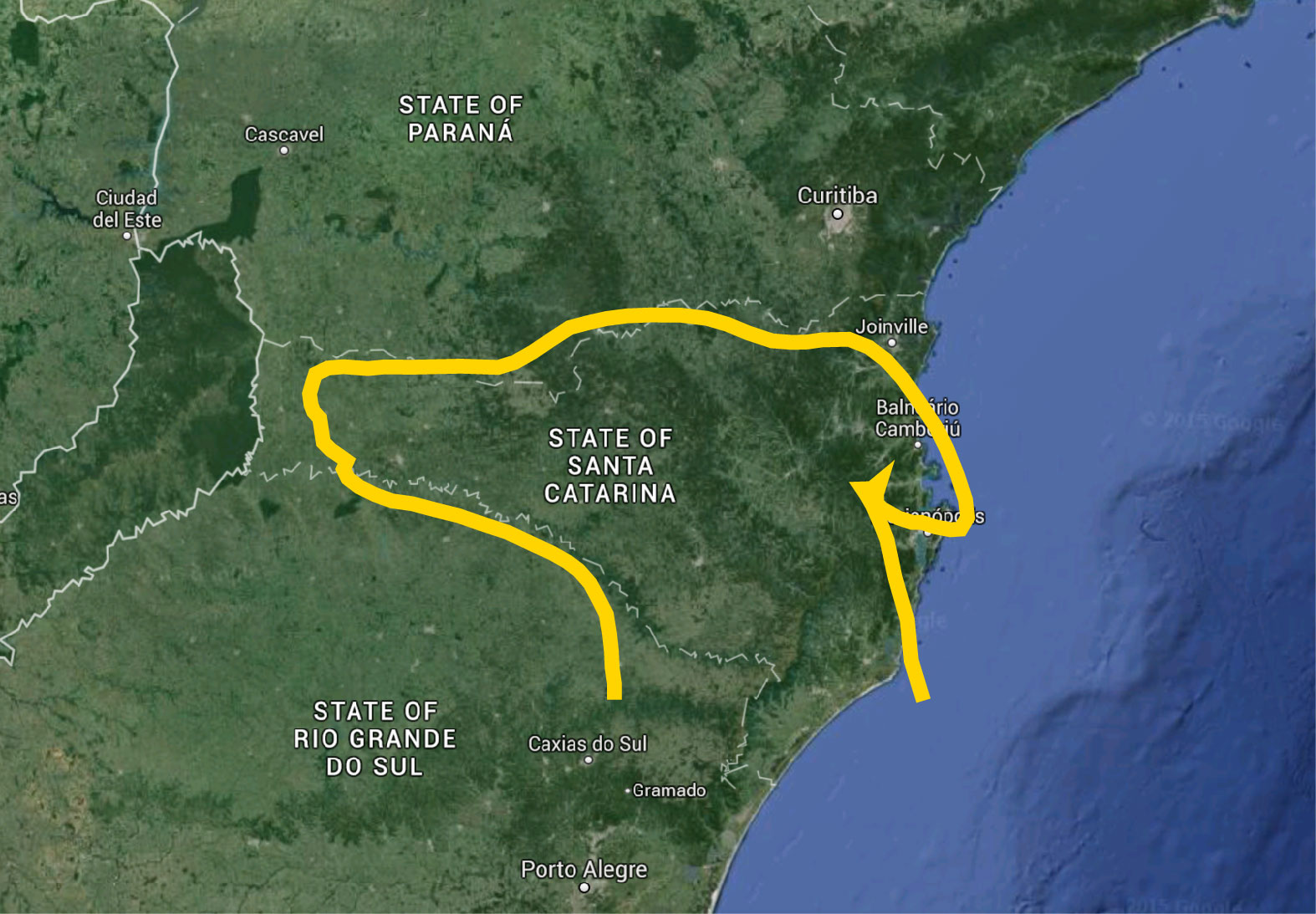 Google Earth map of Santa Catarina state with dog head overlay.