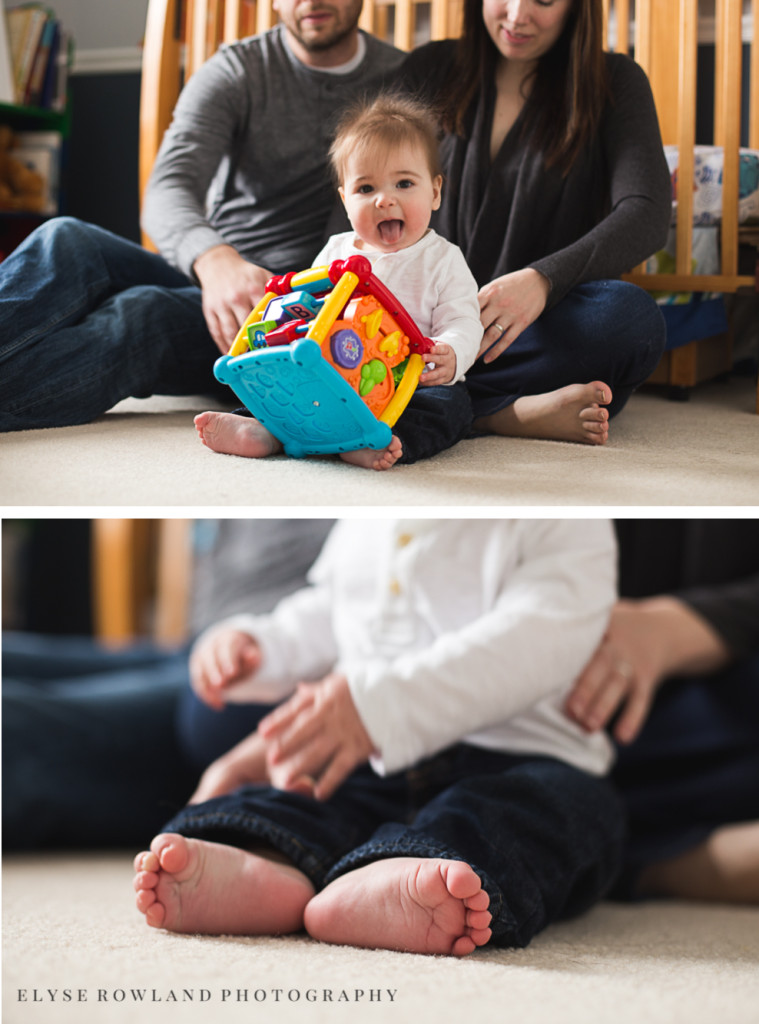 baby with toy family