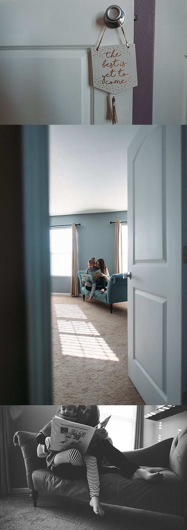 mom reading to daughter in bedroom