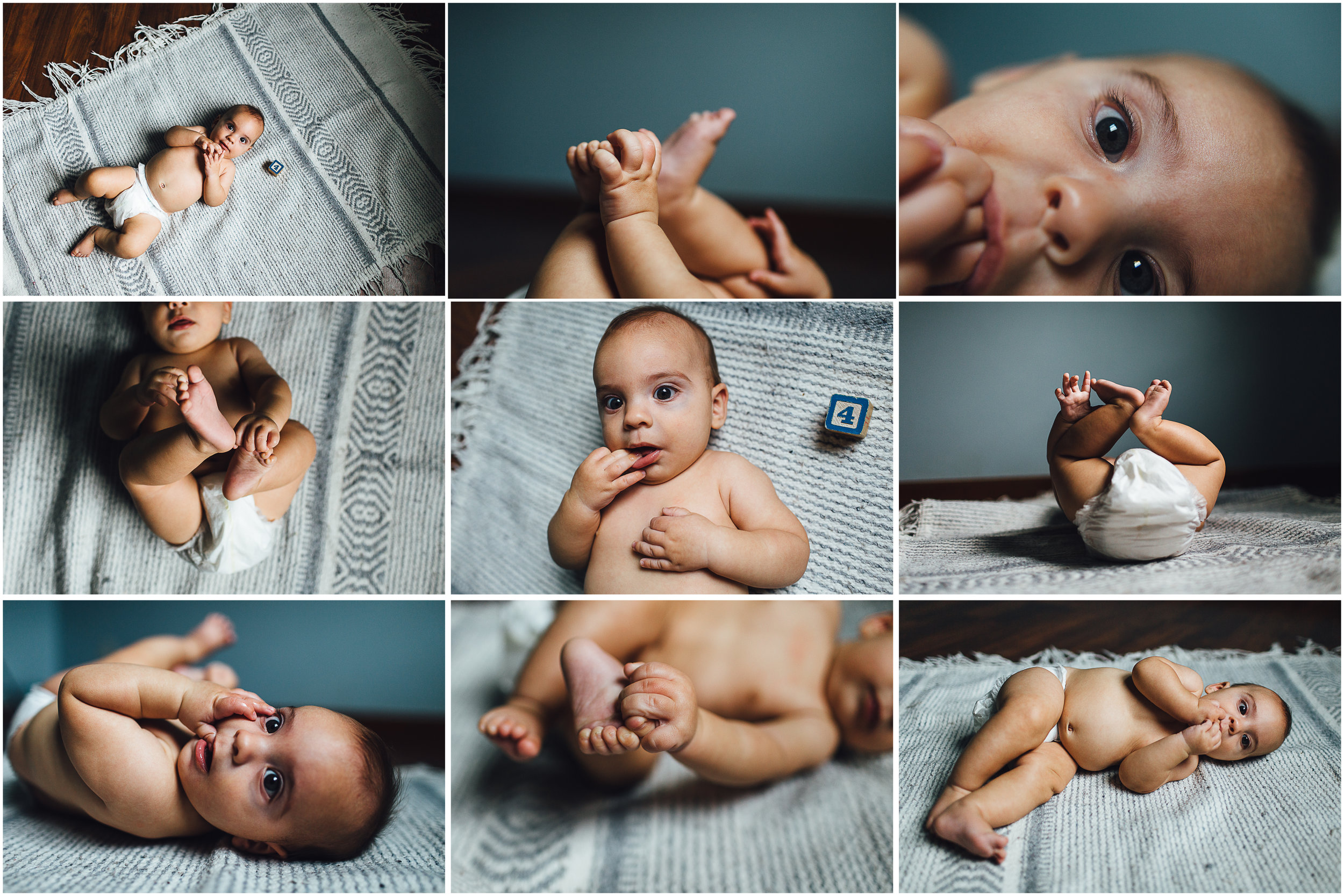 four month baby holding toes