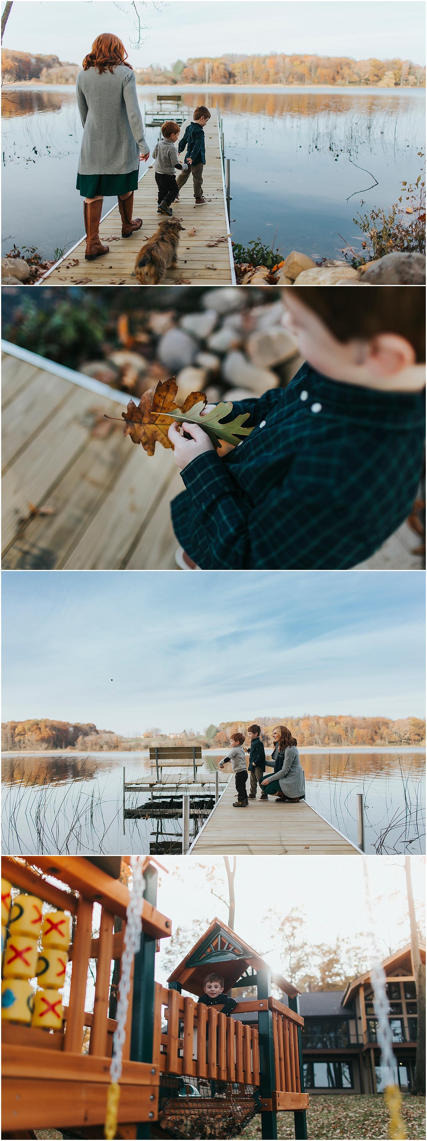 family photo session by lake in kalamazoo