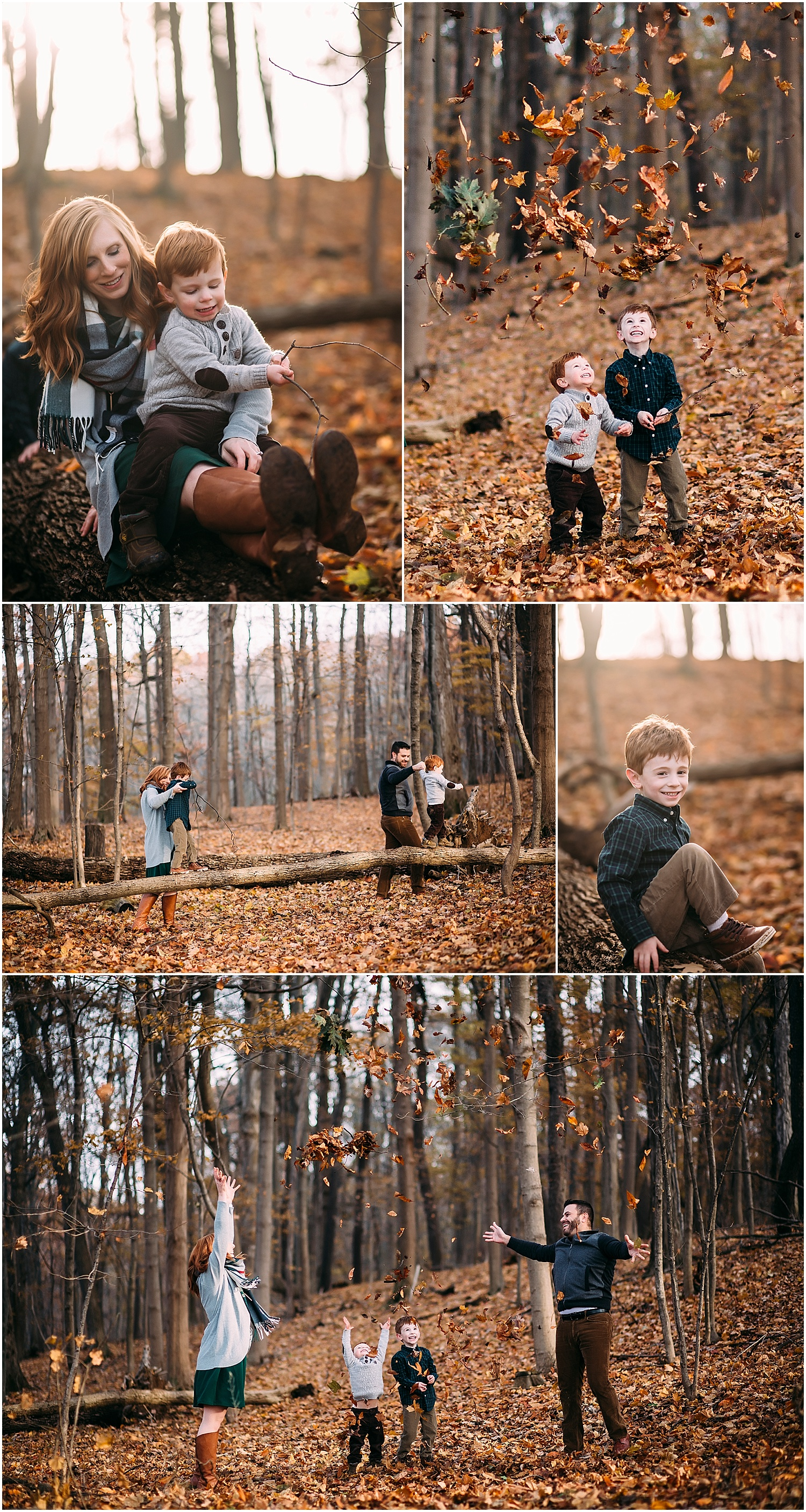 throwing leaves during fall family photo session in kalamazoo