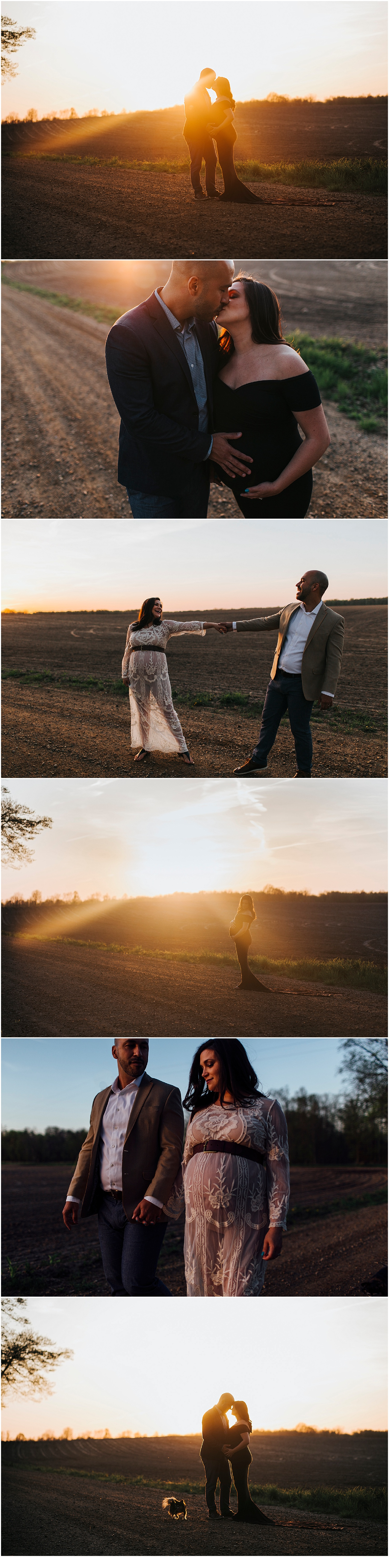 husband, pregnant wife & dog playfully dancing in field and on dirt road