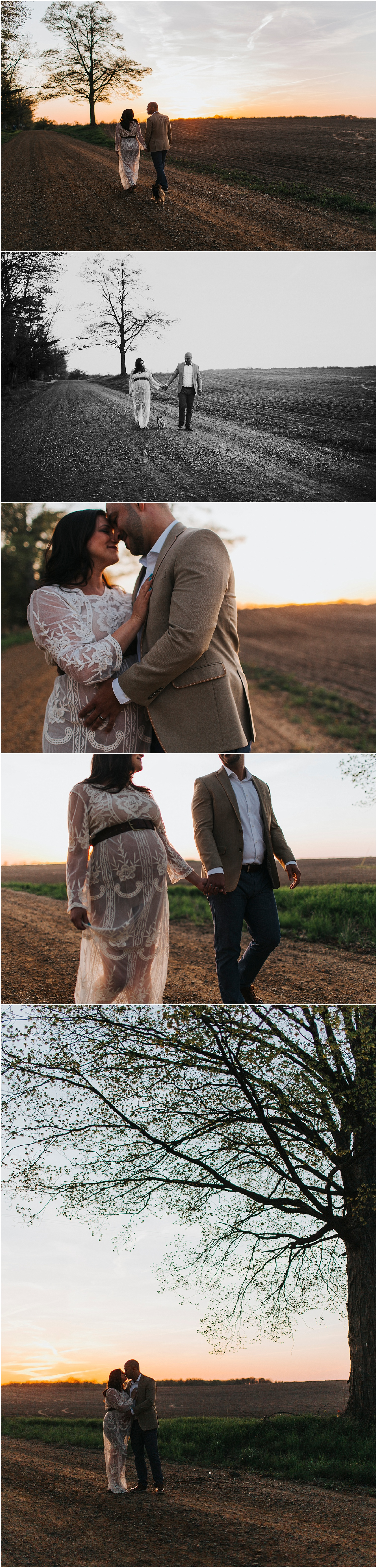 pregnant wife walking with husband on dirt road