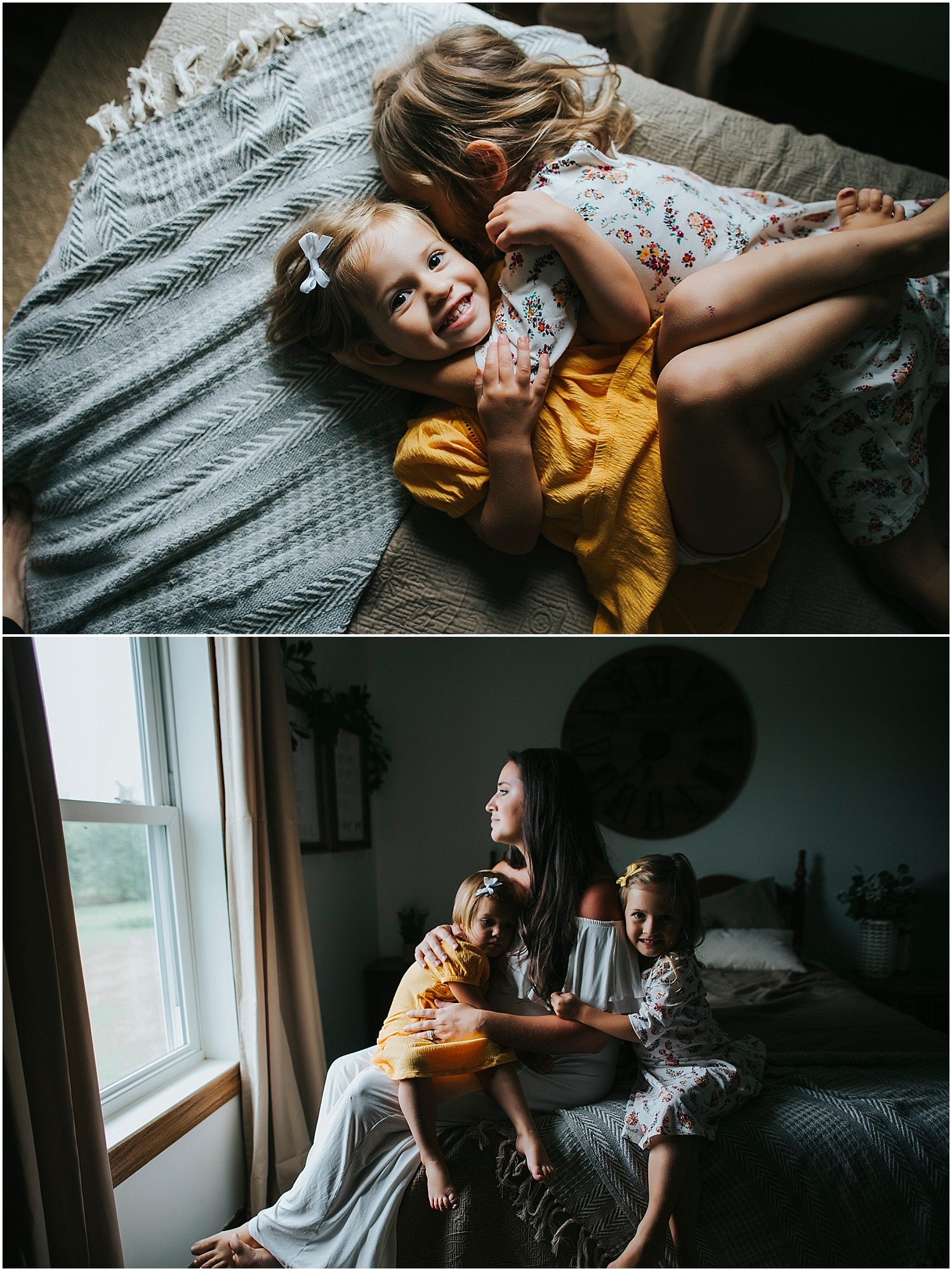 mom with little girls on bed
