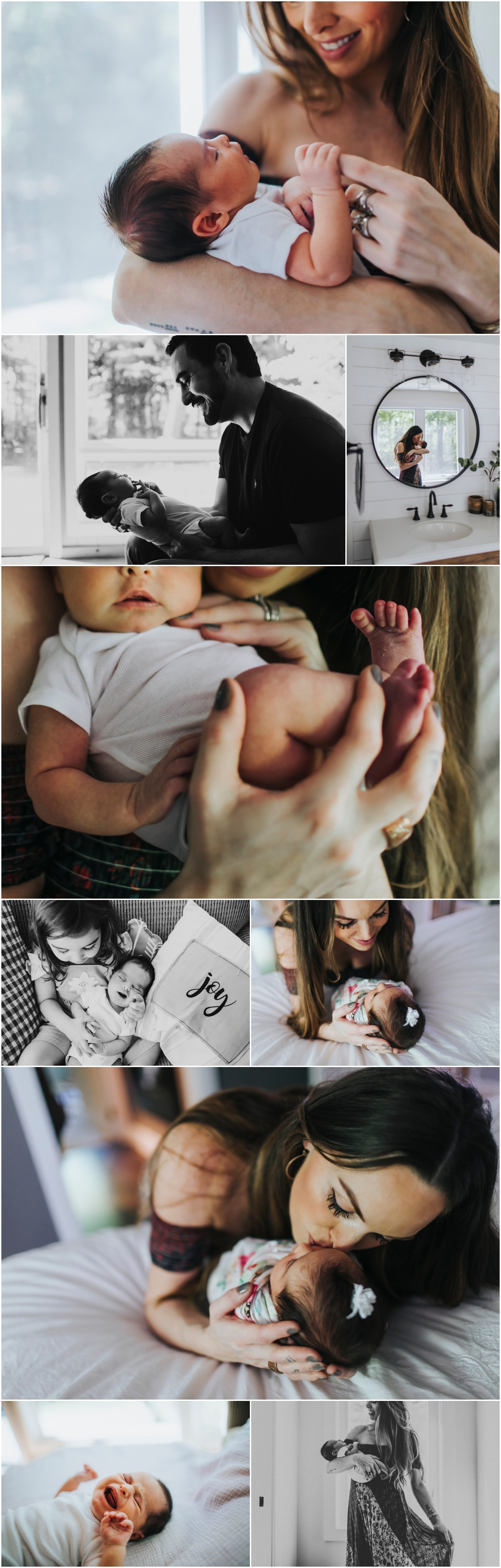 newborn baby girl with her family in portage michigan, at home