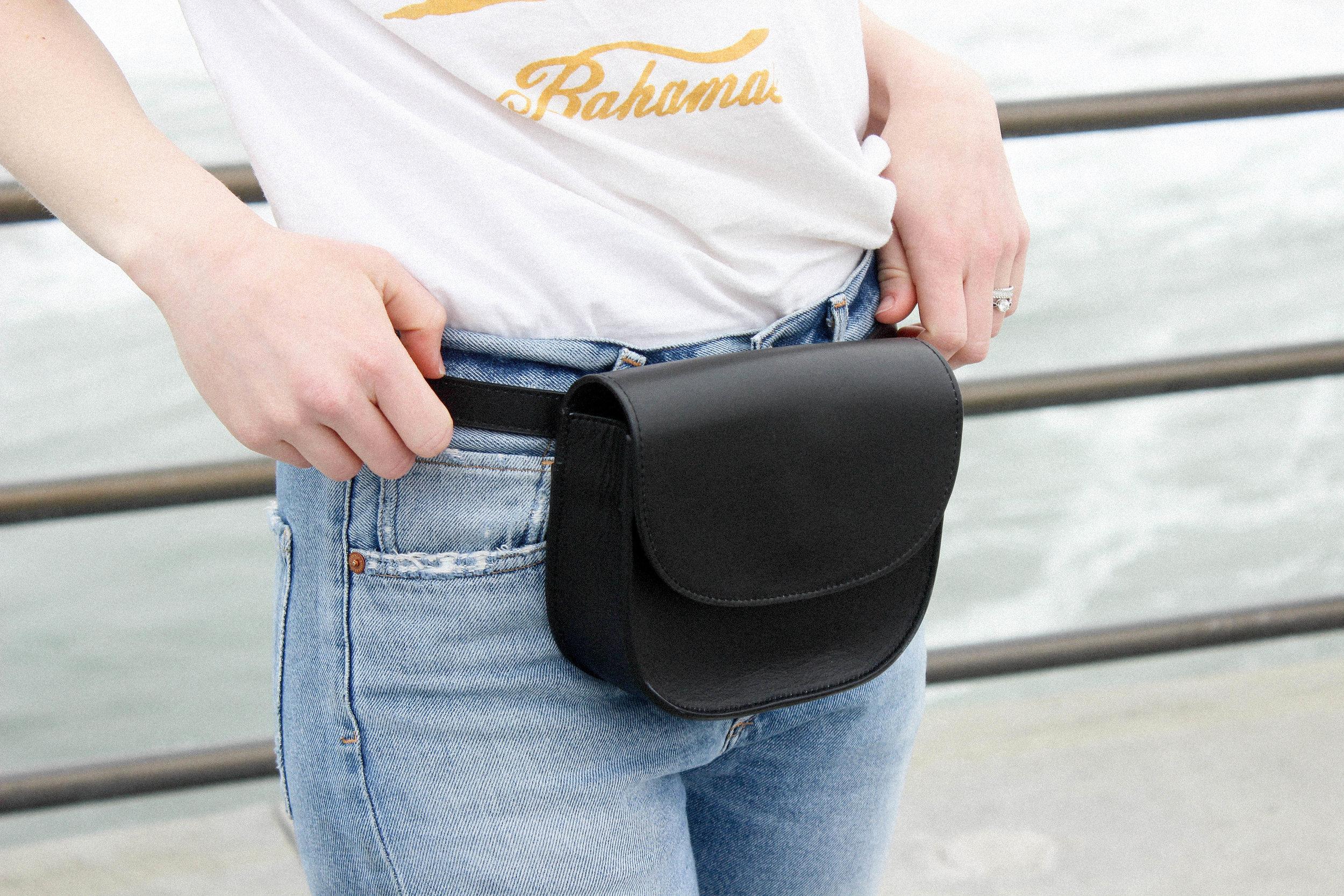 Vintage Tee, Citizens of Humanity Liya Jeans, Kristiina Taylor Belt Bag, and Posse St. Tropez Slides. - TAYLORKRISTIINA.COM