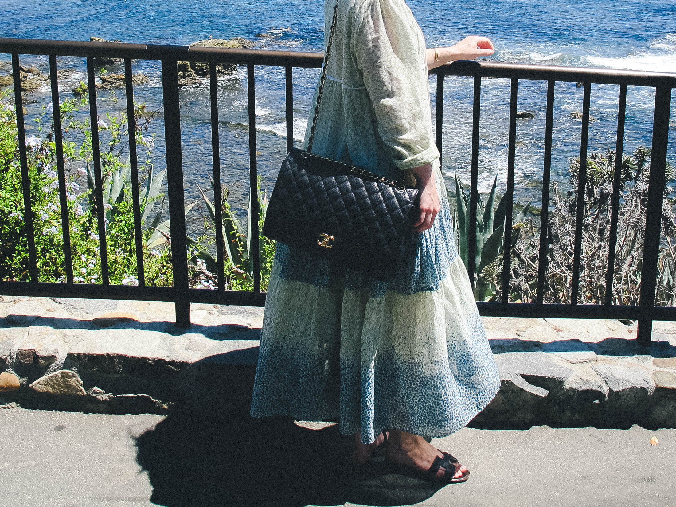 Laguna Beach, California | Taylorkristiina.com | CHRISTY DAWN PALOMA DRESS, CHANEL MAXI BAG, AND HERMES ORAN SANDALS.